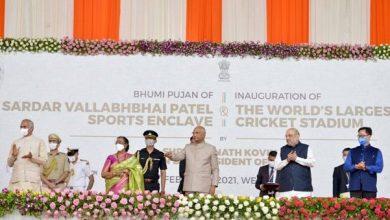 Photo of President of India Inaugurates Narendra Modi Cricket Stadium and Lays Foundation Stone of Sardar Vallabhbhai Patel Sports Enclave in Ahmedabad