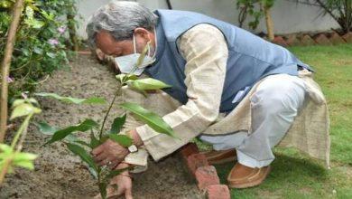 Photo of विश्व पर्यावरण दिवस के अवसर पर अपने जीएमएस रोड स्थित भागीरथीपुरम आवास पर वृक्षारोपण करते हुएः सीएम